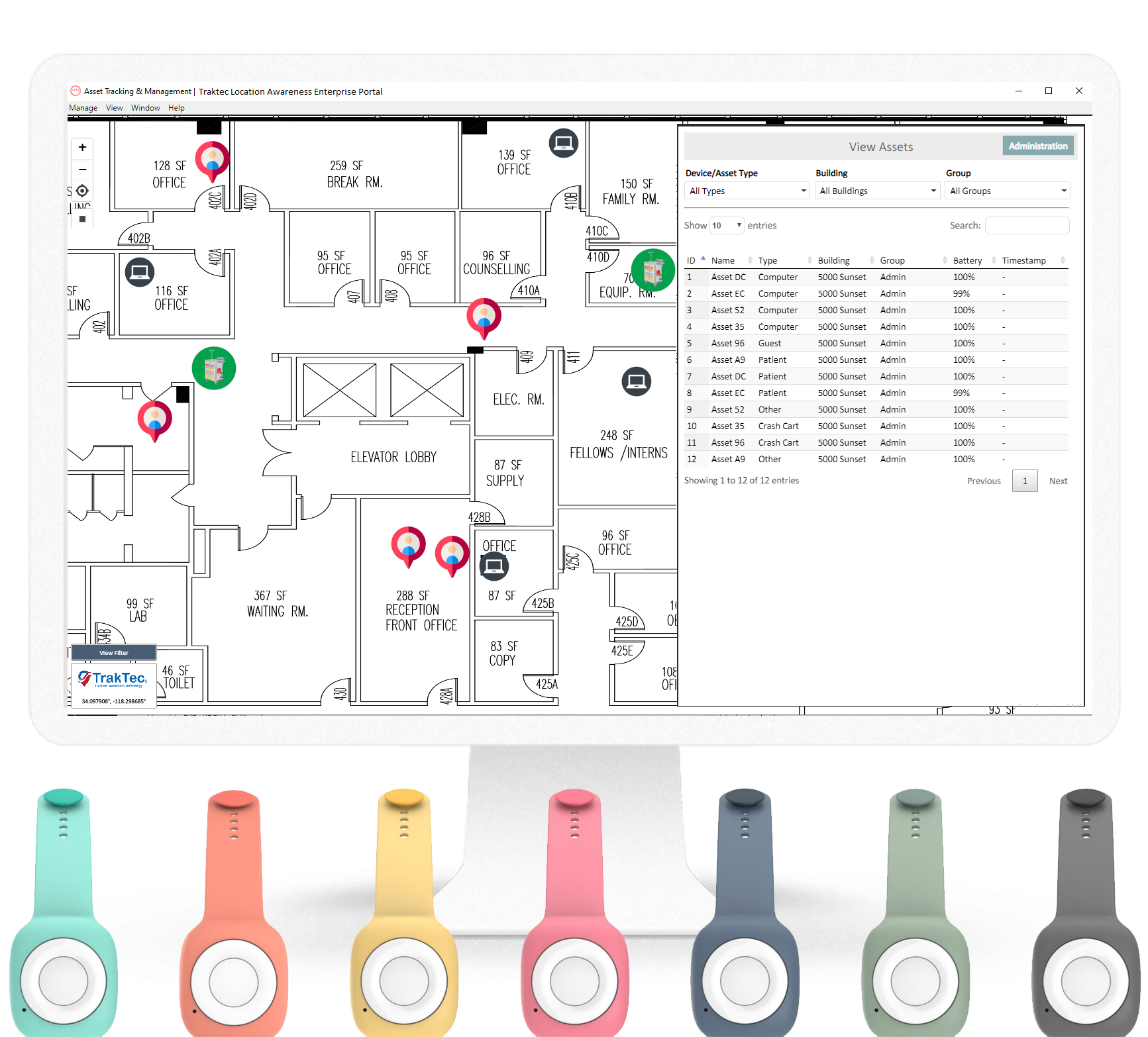 SafetyNet Tracking Solutions user Interface for Assisted Living Asset Management